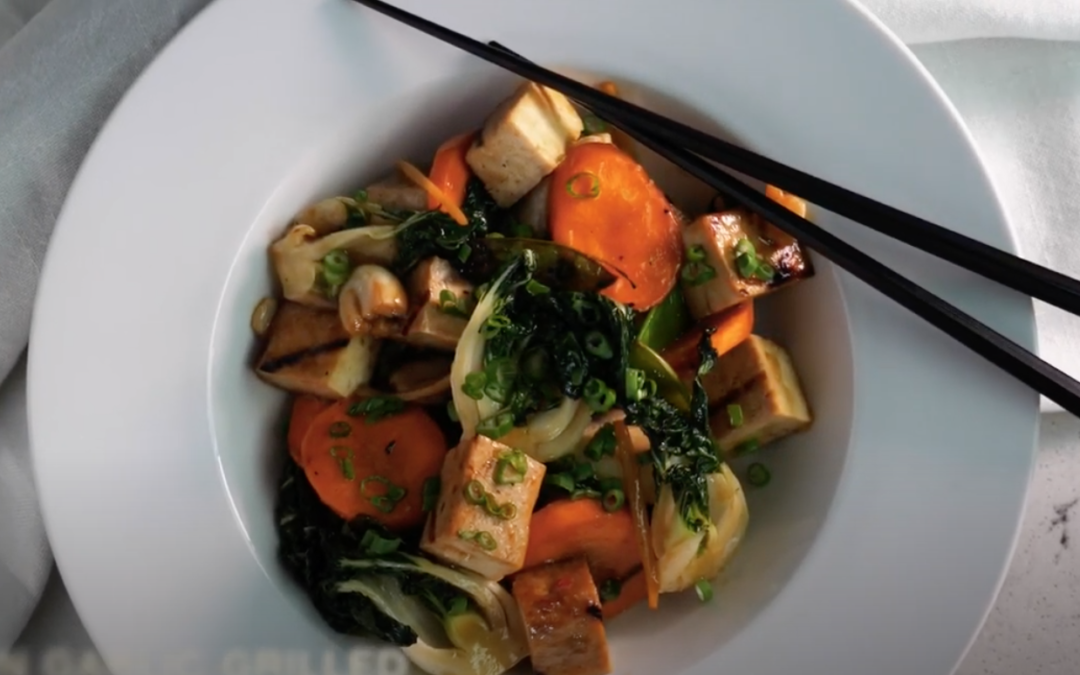 Asian Garlic Grilled Tofu Vegetable Stir-Fry BBQ Recipe