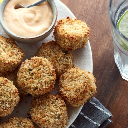 Air Fryer Dill Pickle Crab Cakes with Spicy Mayo