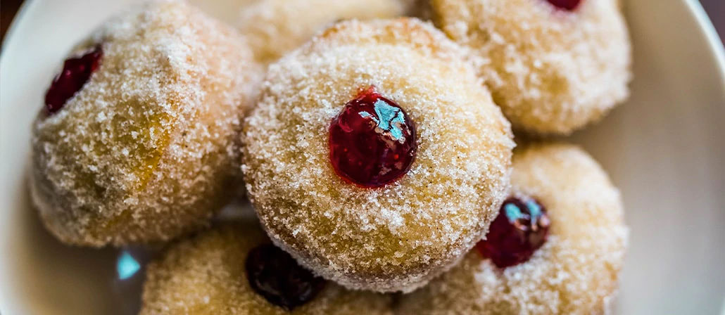Donut Muffins with Strawberry Jam